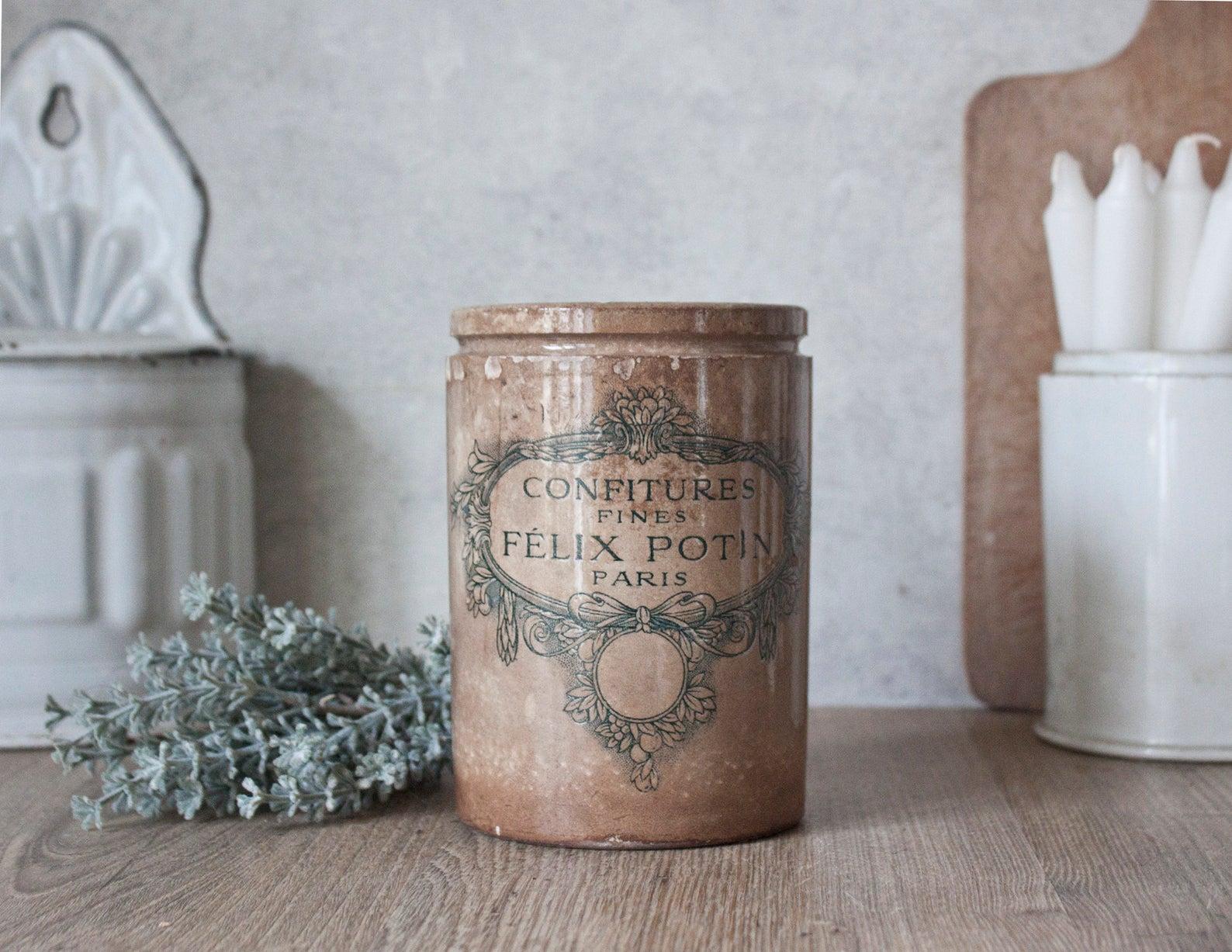 Vintage Felix Potin stoneware jar from France