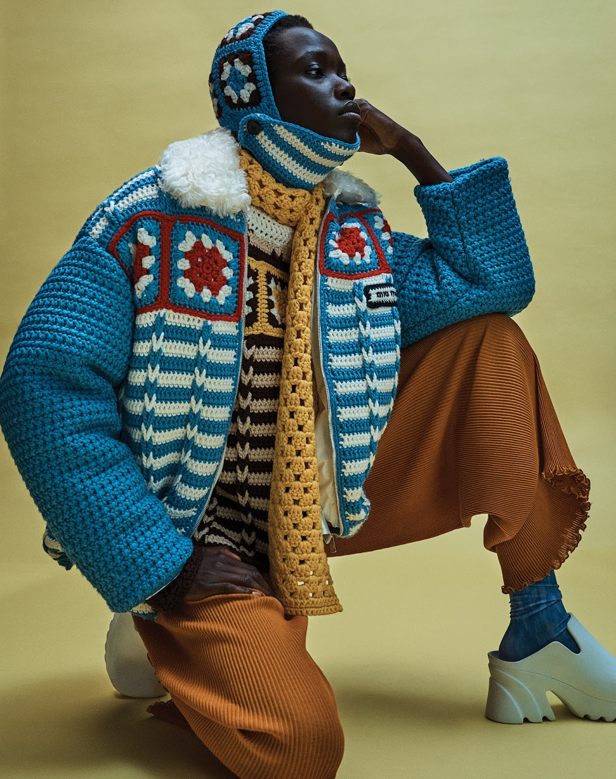 SMILE: 'Knits & Pieces' in WSJ. Magazine Fall 2021 by Josh Olins, Models: Miriam Sanchez, Awar Odhiang, Louise Robert, Laura Hagested