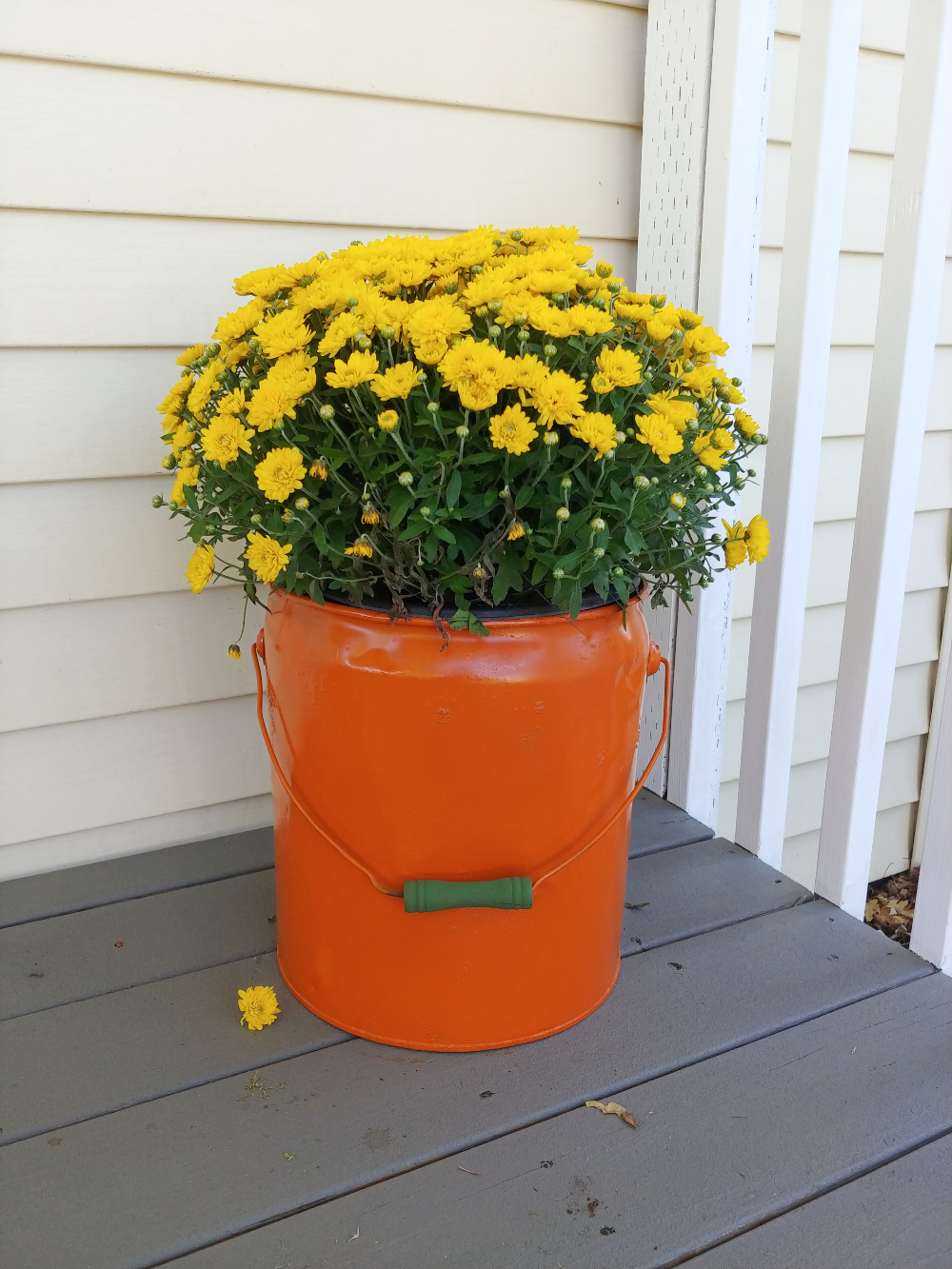 upcycled bucket fall decor