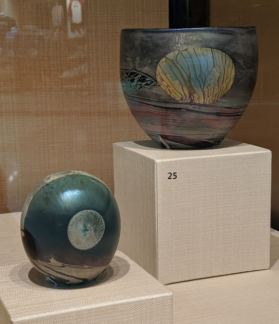 Blown glass Moon Bottle (1970) and Moon Bowl (1972) by John Lewis