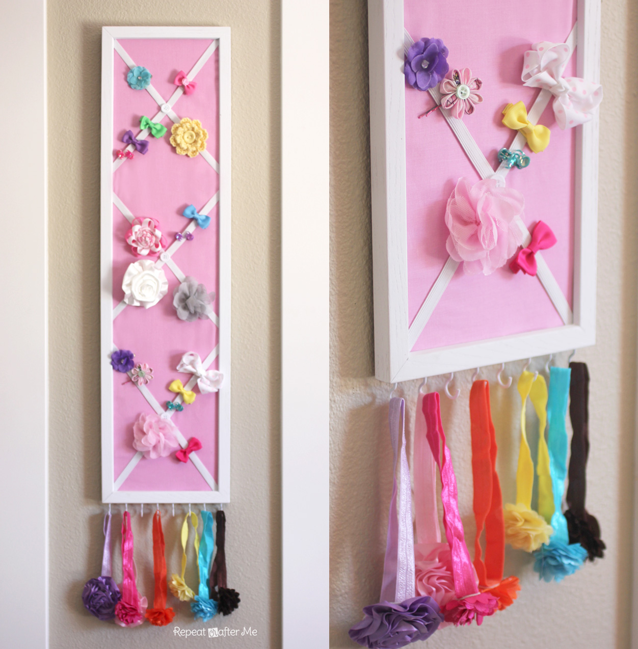 Diy hair bow holder or message board repeat crafter me ever since i found out i was having a girl i started buying hair accessories i am a little embarrassed to say that the pile of hair bows solutioingenieria Image collections