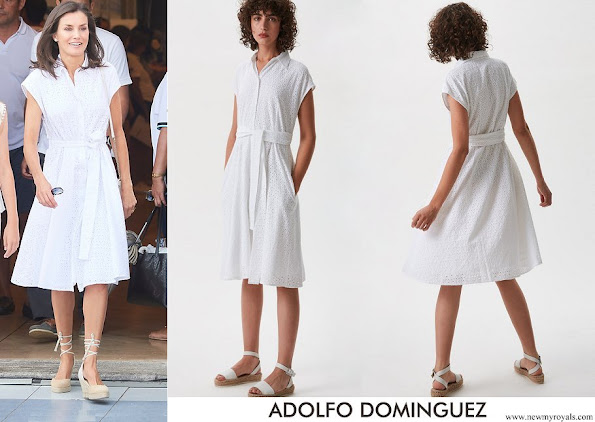 Queen Letizia wore Adolfo Dominguez embroidered cotton dress with belt