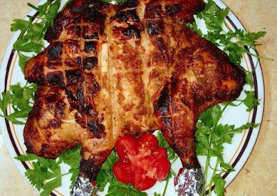 شيش دجاج مشوي على الفحم