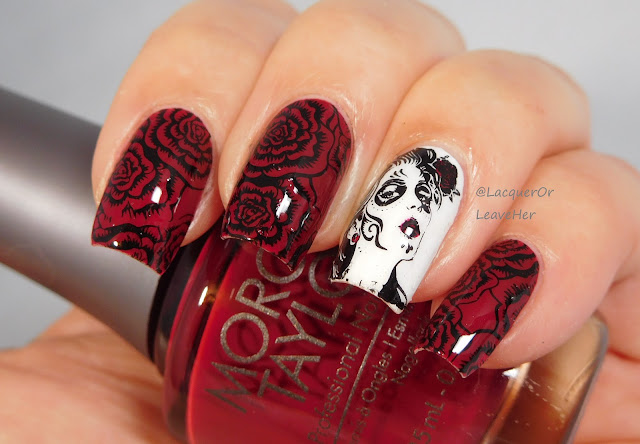 Dixie Plates DP 09 over Morgan Taylor All Tango-d Up and Sally Hansen Get Mod