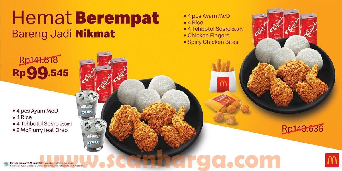 McDonalds Hemat Berempat Hanya Rp 99.545 Periode 22 - 26 Juli 2020
