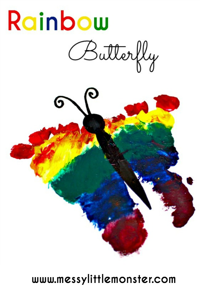 Rainbow footprint butterfly. A spring craft or keepsake for babies, toddlers, preschoolers, eyfs, based on 'The Very Hungry Caterpillar' by Eric Carle