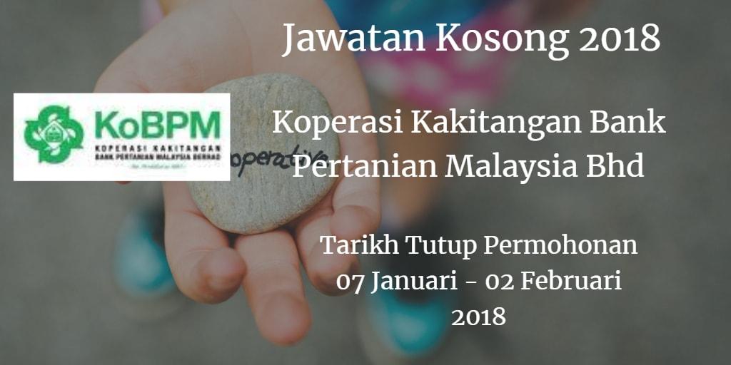 Jawatan Kosong Koperasi Kakitangan Bank Pertanian Malaysia Bhd 07 Januari - 02 Februari 2018