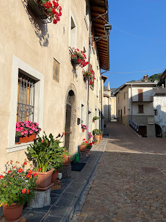 Morning in Valtorta - main street, Via Roma.