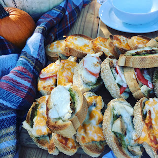 open face grilled cheese chicken sandwiches, autumn dinner outdoors, #grilledcheesesandwich #thestylesisters #outdoordining