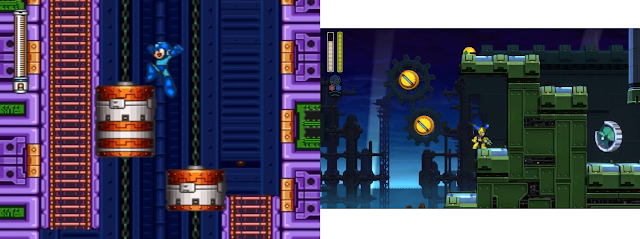 Mega Man 7 huge sprites zoomed camera versus Mega Man 11