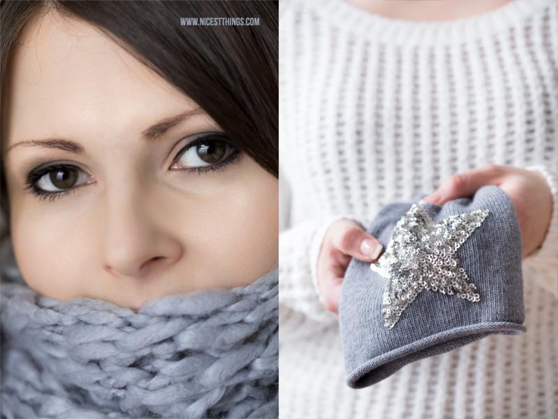 Schal und Mütze in Grau mit Stern