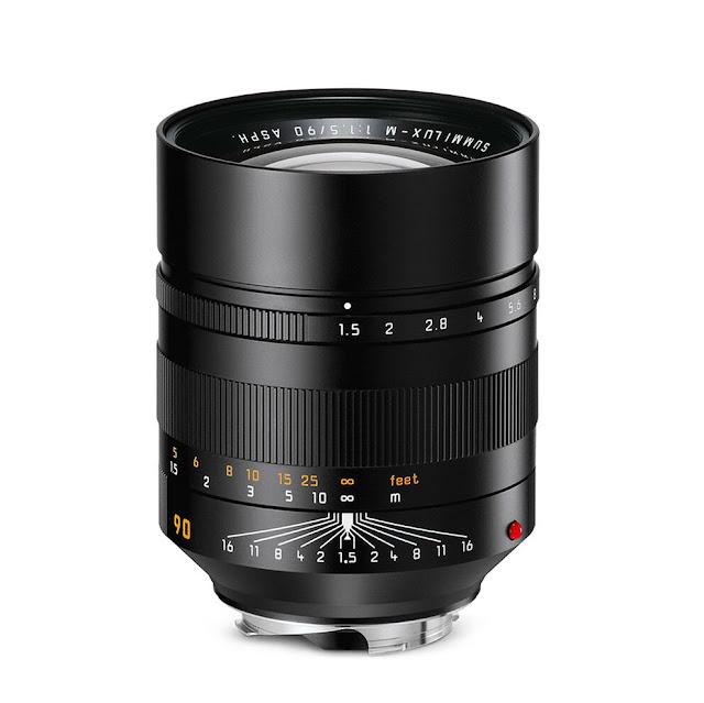 Objetivo fotográfico Leica Summilux-M 90 mm f/1.5, mostrando escalas de enfoque, aberturas de diafragma y profundidad de campo