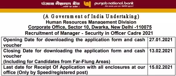 PNB Security Manager Officer Recruitment 2021