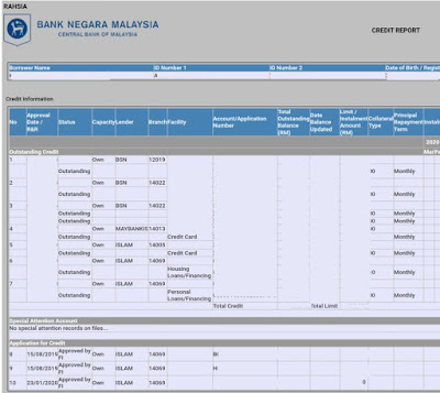 Contoh Report CCRIS BNM