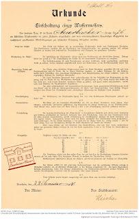 Bensheimer Häuser - damals und heute - Die Urkunde über den Anschluss eines Wassermessers in der Darmstädter Straße (früher Auerbacher Straße 76) aus dem Jahre 1906 ist der einzige Beleg über den Anschluss des Anwesens an ein städtisches Wassernetz.