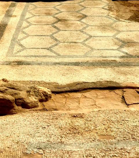 Mosaic tile floor in Masada Israel