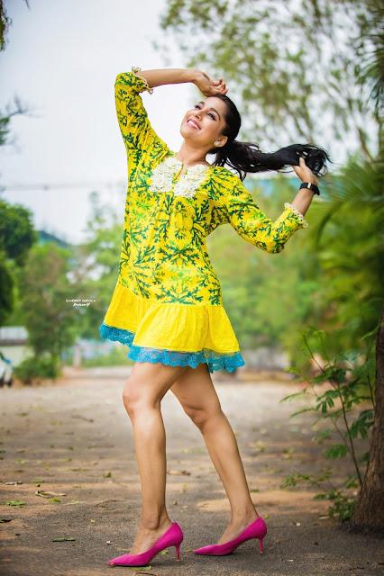 Actress Rashmi Gautam Sexy Legs in Yellow Dress Hot Photo Actress Trend