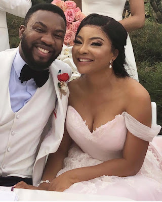 Tinsel stars Linda Ejiofor and Ibrahim Suleiman white wedding photos