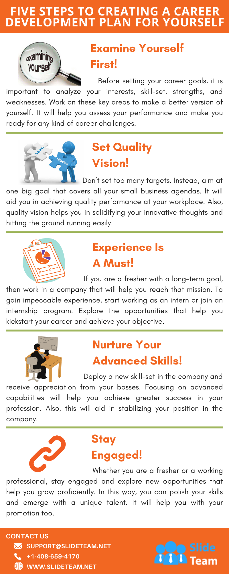 Five Steps To Creating A Career Development Plan For Yourself #infographic #Education #Career Development #infographics #Career #Infographic