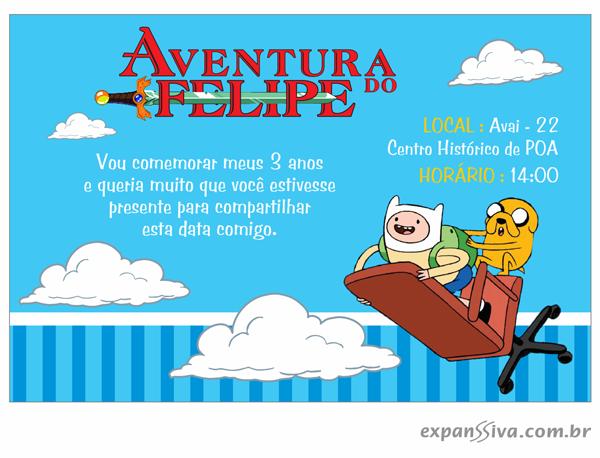 Convites de aniversário infantil hora de aventura