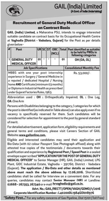 GAIL Recruitment 2016 - General Duty Medical Officer Posts