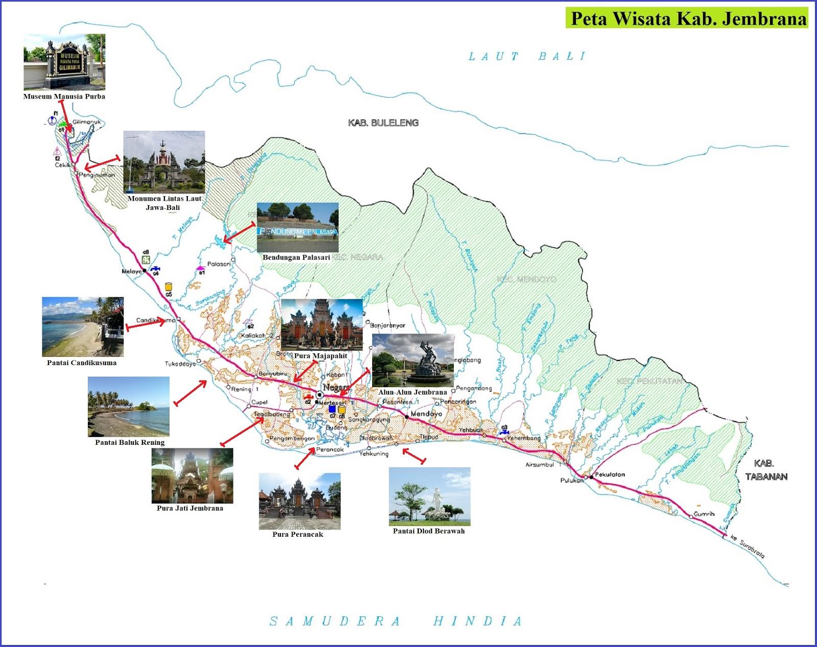 Peta Wisata Kabupaten Jembrana