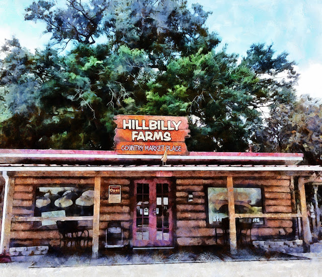 A painted rendition of the Hillbilly Farms Bakery near Dade City, Florida.