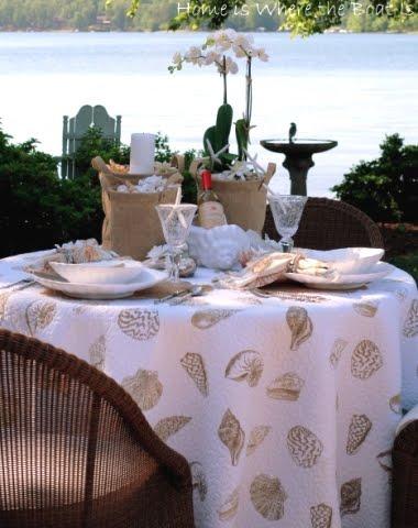 outdoor beach theme table