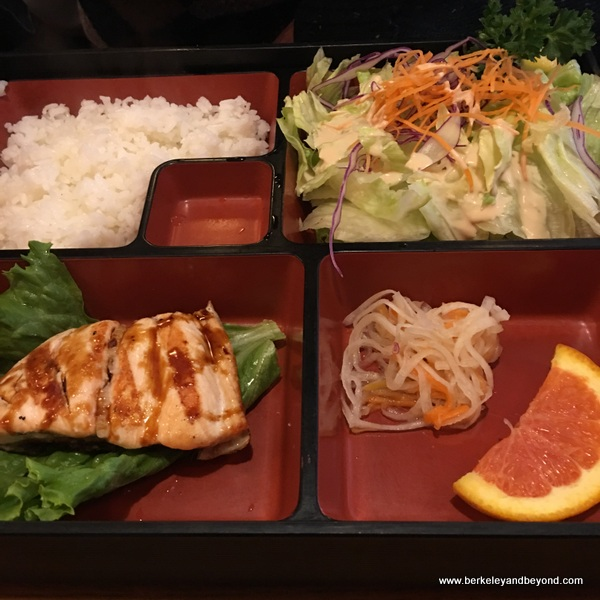 bento box teriyaki salmon at Sugata Japanese Restaurant in Albany, California