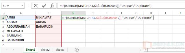 Bandingkan 2 kolom untuk menemukan duplikat menggunakan rumus Excel