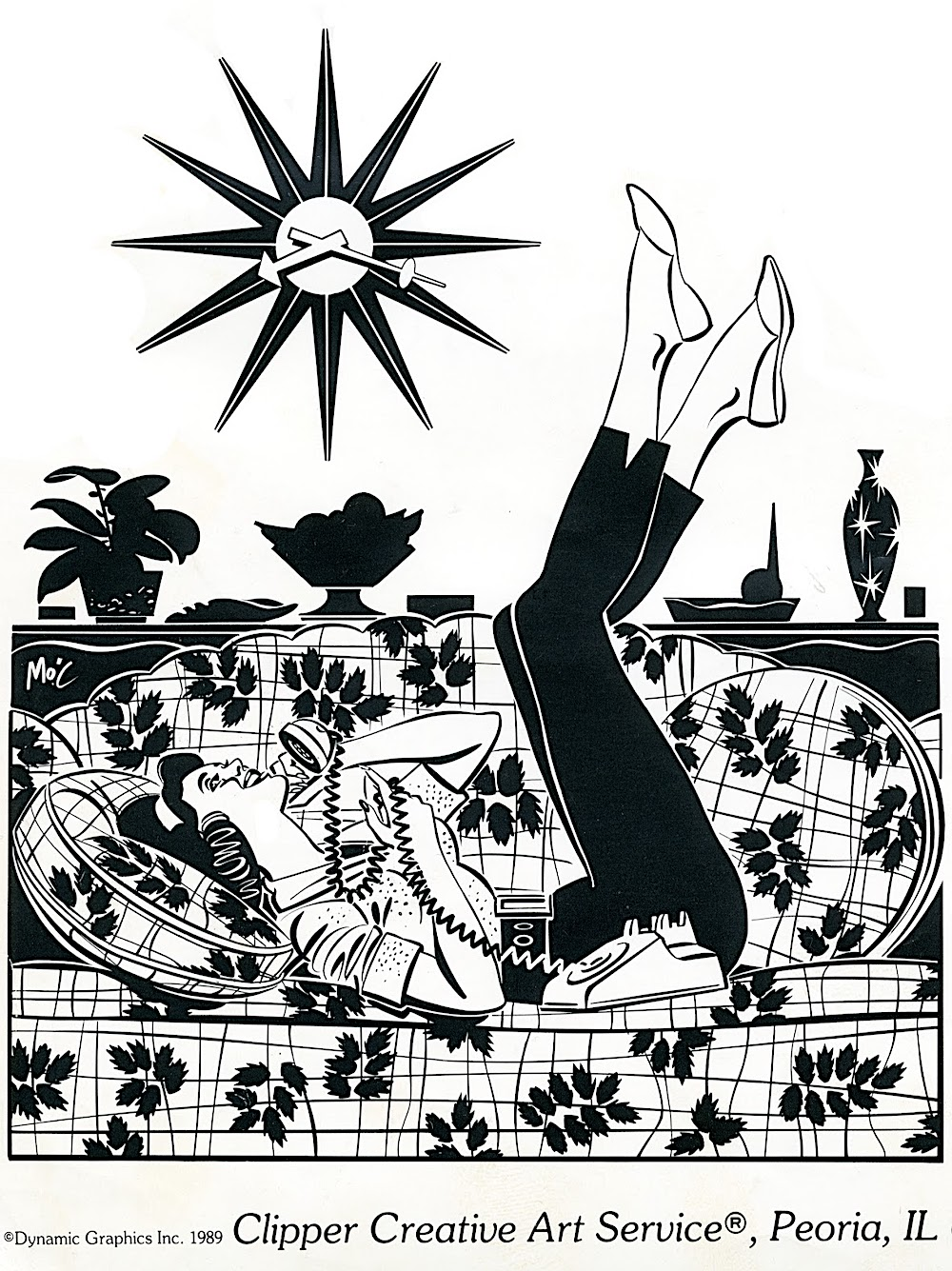 1989 clipper art for printing by cartoon artist Mitch O'Connell, a woman on the telephone, dynamic graphics Inc