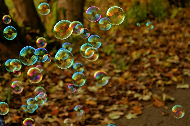 Bubbles Floating across the field