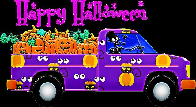 funny halloween truck pumpkins