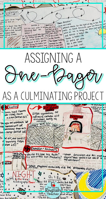 Assigning a one-pager as a culminating novel study project in the ELA classroom.