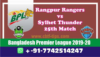 Who will win Today BPL T20, 25th Match Sylhet vs Rangpur - Cricfrog