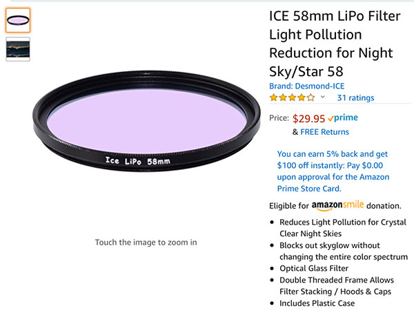 This filter is an easy way to try out light pollution filters (Source: Amazon.com)