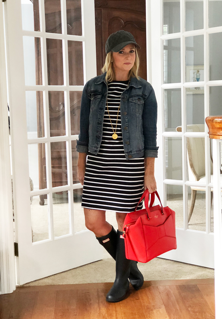 stripe dress with denim jacket and hunter boots