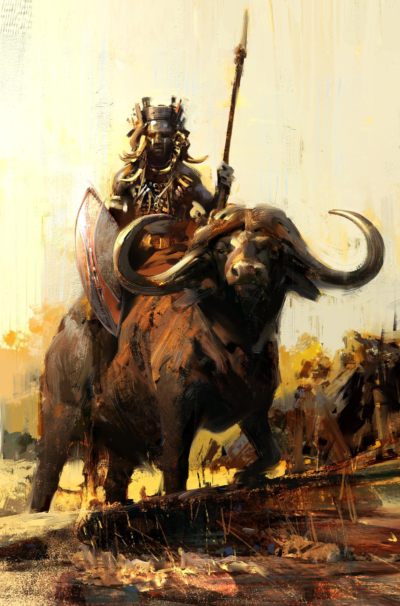 buffalo animal rider painting