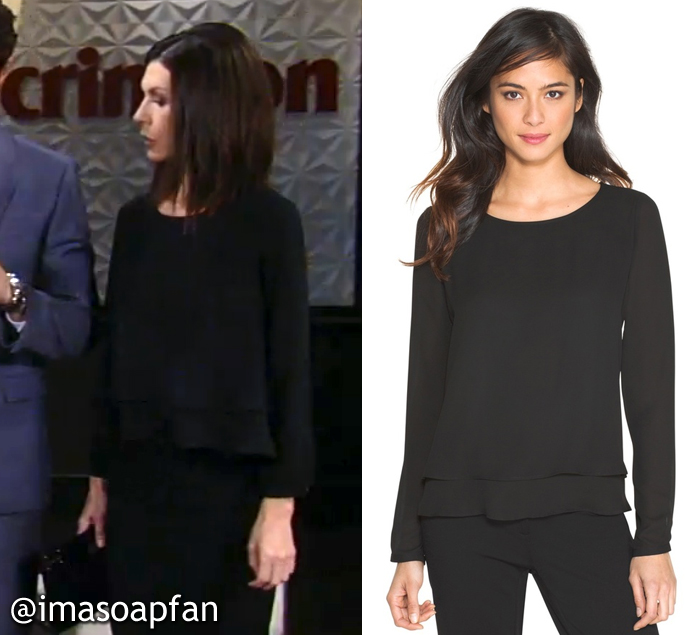 Anna Devane's Layered Black Blouse, white house black market, Anna Devane, Finola Hughes, General Hospital, GH