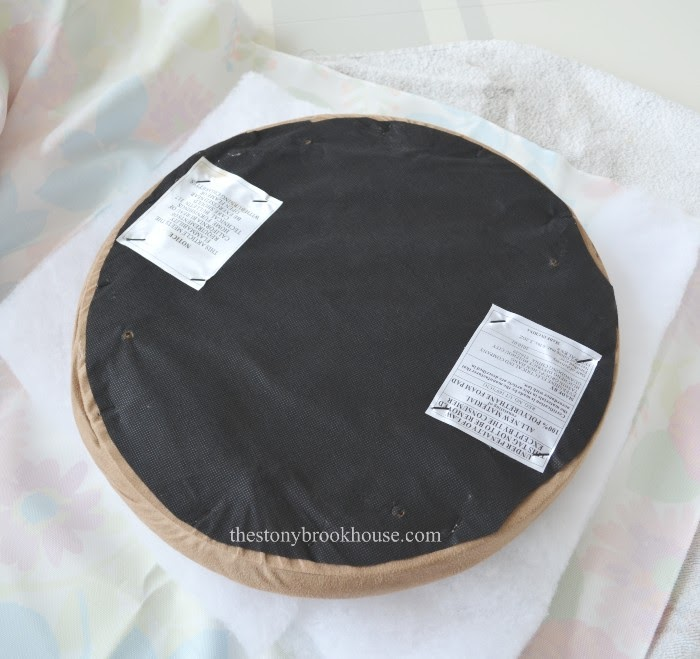 Flipping seat over with batting and fabric