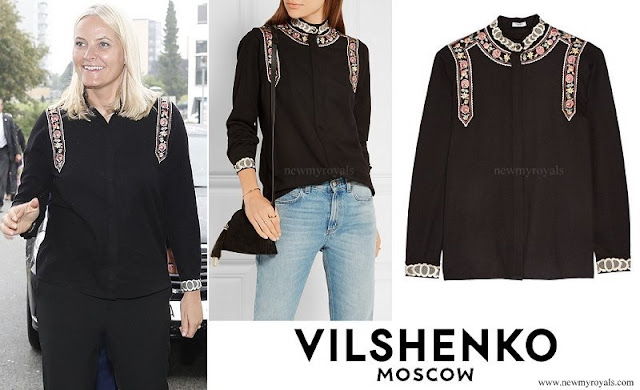 Crown Princess Mette Marit wore Vilshenko Rachel embroidered wool and cashmere blend blouse