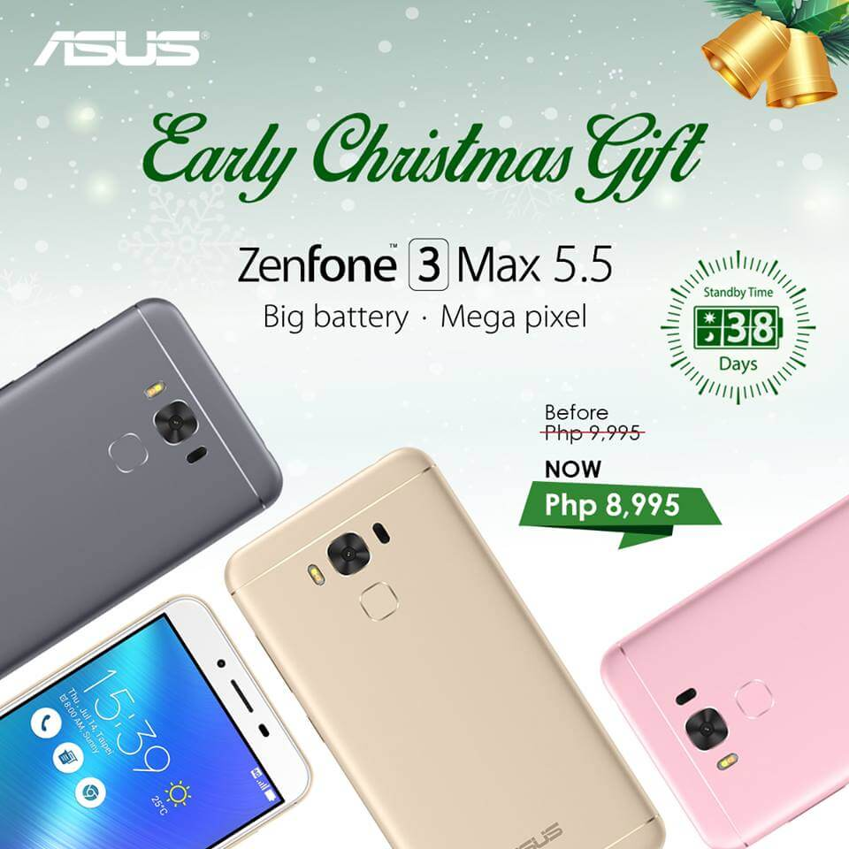 Get Zenfone 3 Max 5.5 for Only Php8995 under Zenny Merry Christmas Promo