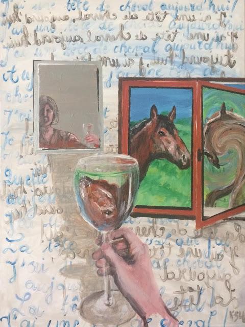 Karine Babel peint un cheval sur un mode surréaliste à la manière de Magritte