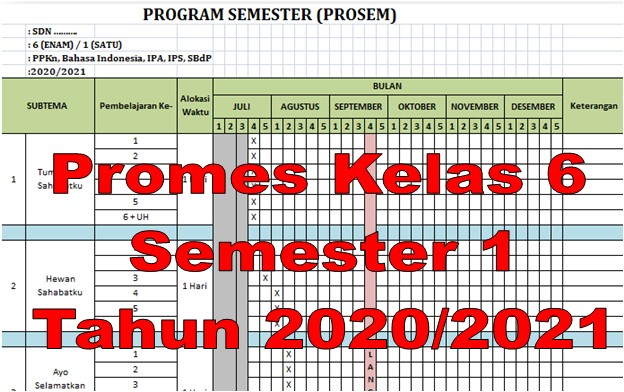 Promes Kelas 6 SD Semester 1 Kurikulum 2013 Tahun 2020/2021 - Guru Krebet 3
