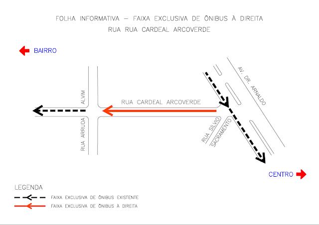 Faixa exclusiva para ônibus na Rua Cardeal Arcoverde