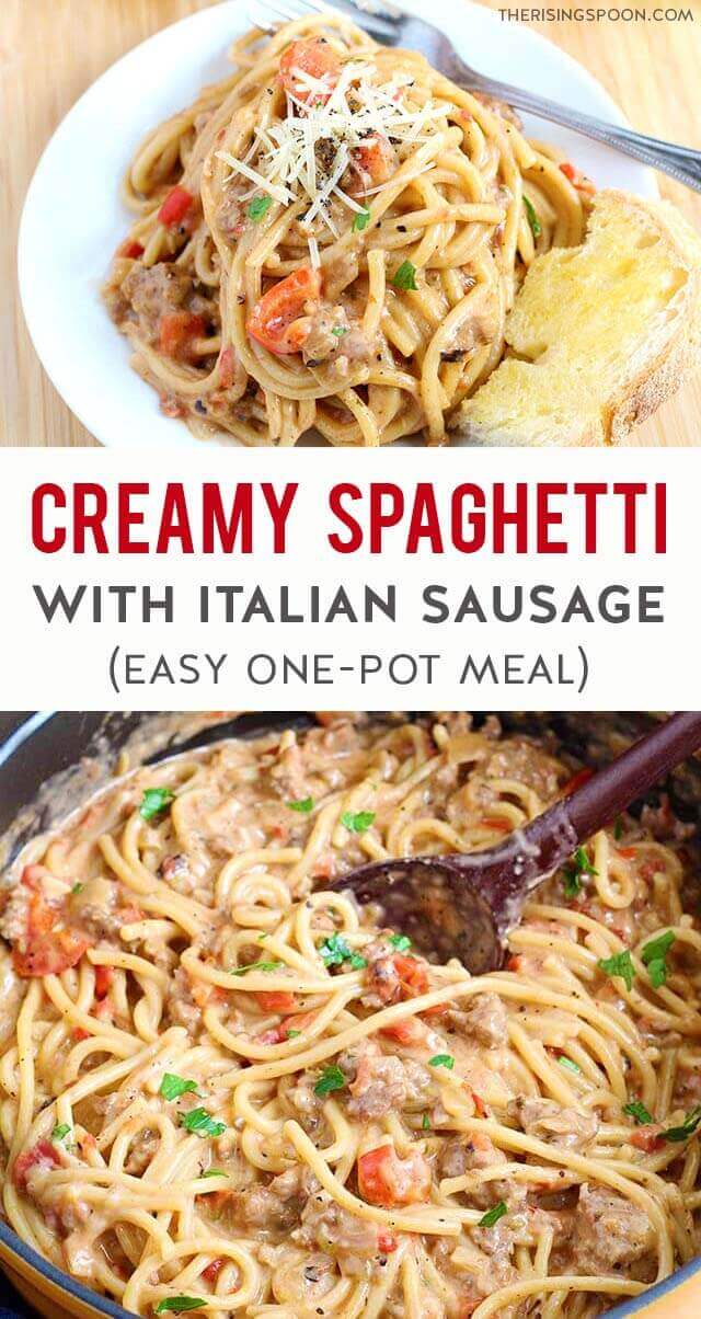 Need some easy comfort food made with simple ingredients? Fix this Creamy One-Pot Spaghetti in only 45 minutes with onion, sweet bell pepper, garlic, ground Italian sausage, canned tomatoes, broth, canned coconut milk (or heavy cream) + dry spices. This recipe is super versatile, so use it as a template and grab what's on hand in your kitchen right now to save time & money. (dairy-free option)