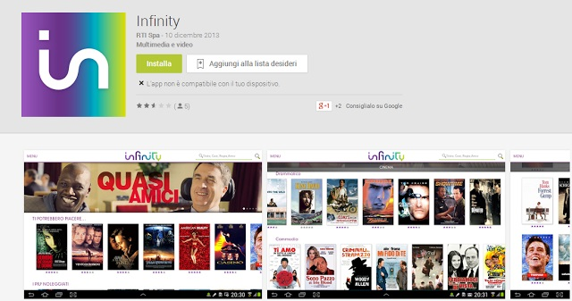app infinity su smart tv telefunken