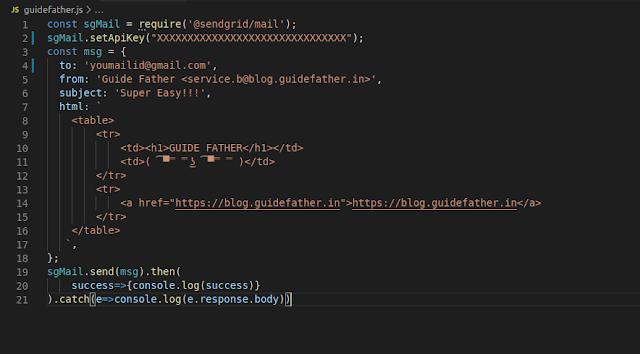 Code to send Email via NODE.js