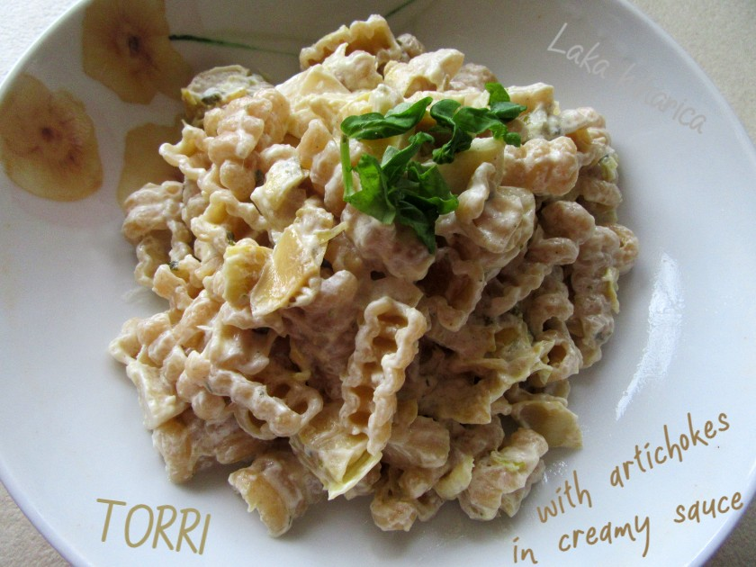 Torri with artichokes in creamy sauce by Laka kuharica: lemon-with its bright, tangy flavor perfectly complements the whole wheat pasta.