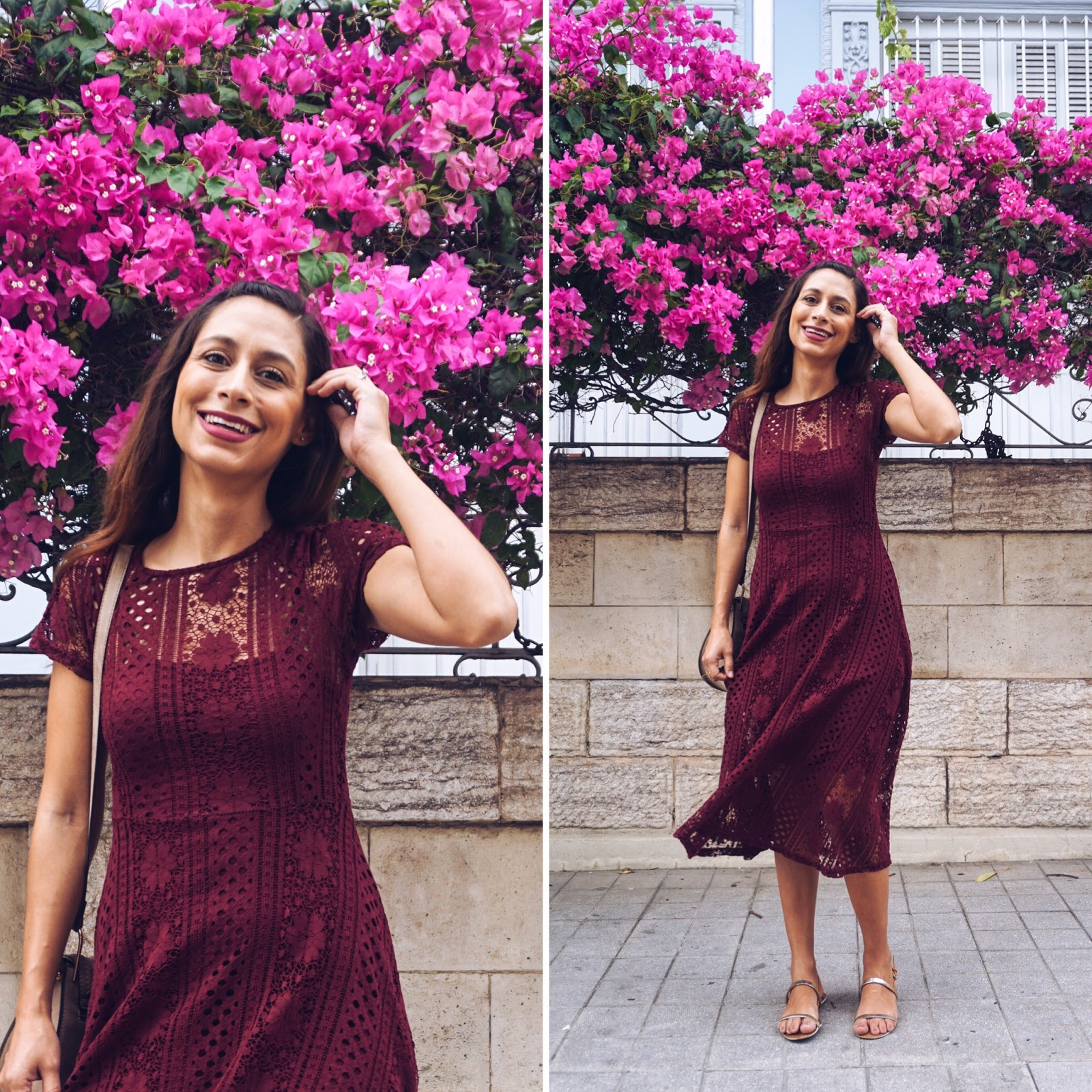 a9f0b8396384 Dress/Traje: Forever 21 $29.90 (other gorgeous burgundy dresses here and  here) Shoes/Zapatos: Zara (similar here and here) Bag/Cartera: TJ Maxx  (brand ...